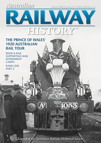 Australian Railway History - August 2020 Volume 71 No 994 표지